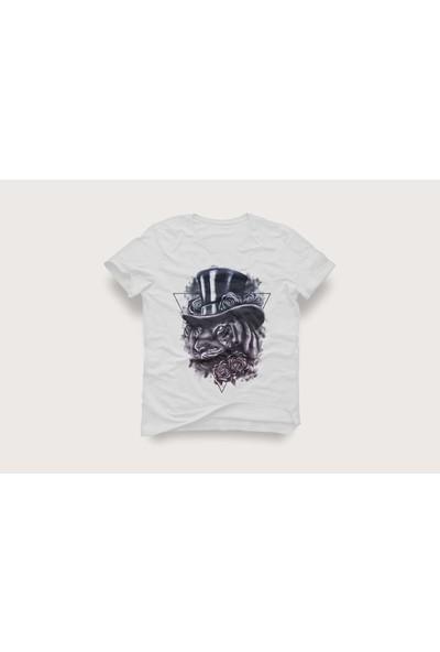 Tshirtadam Aslan Baskılı Beyaz Kısa Kollu T-Shirt