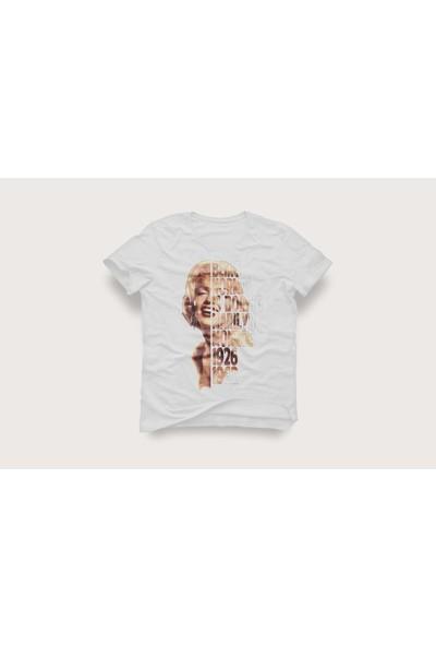 Tshirtadam Marilyn Monroe Beyaz Kısa Kollu T-Shirt