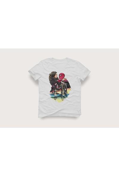 Tshirtadam Spiderman Beyaz Kısa Kollu T-Shirt