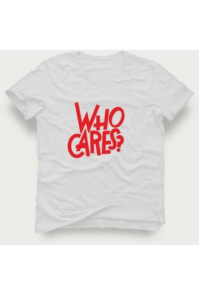 Tshirtadam Who Cares? Beyaz Kısa Kollu T-Shirt