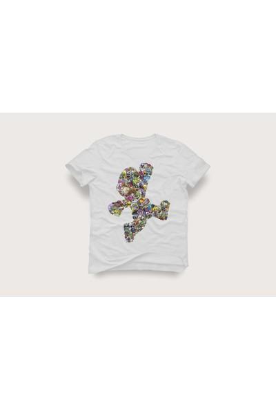 Tshirtadam Süper Mario Beyaz Kısa Kollu T-Shirt