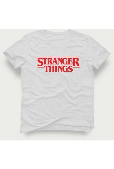 Tshirtadam Stranger Things Beyaz Kısa Kollu T-Shirt