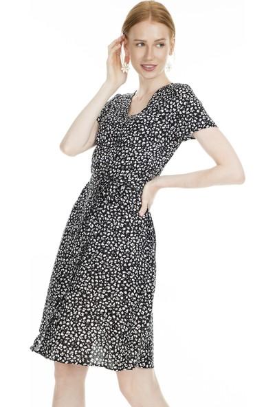 Ekol Çiçek Desenli V Yaka Elbise Kadın Elbise 0234096