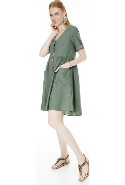 Vero Moda Düğmeli V Yaka Vmmallı Elbise Kadın Elbise 10214713