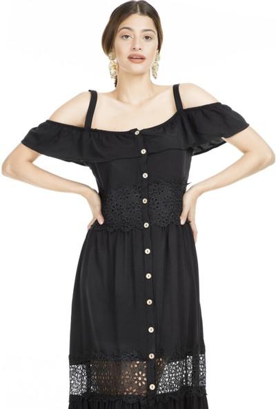 Lela Omzu Açık Maxi Elbise Kadın Elbise 51919064