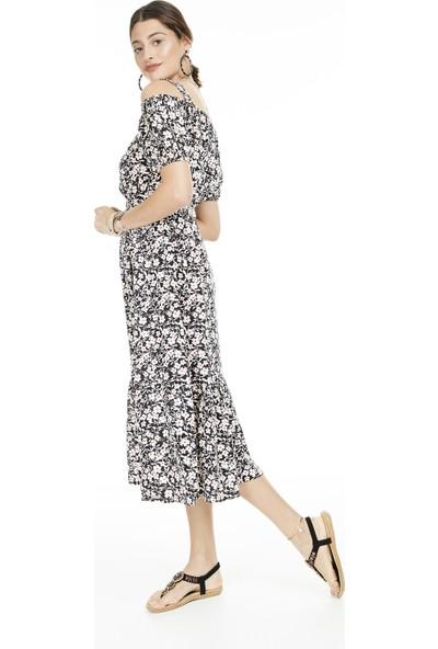 Lela Çiçek Desenli Midi Elbise Kadın Elbise 5202215B