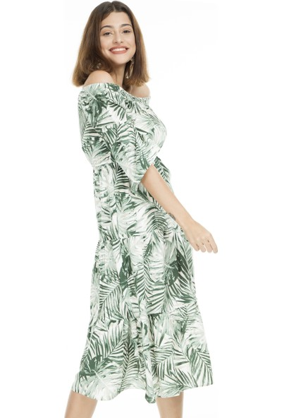 Lela Desenli Carmen Yaka Midi Elbise Kadın Elbise 5202743