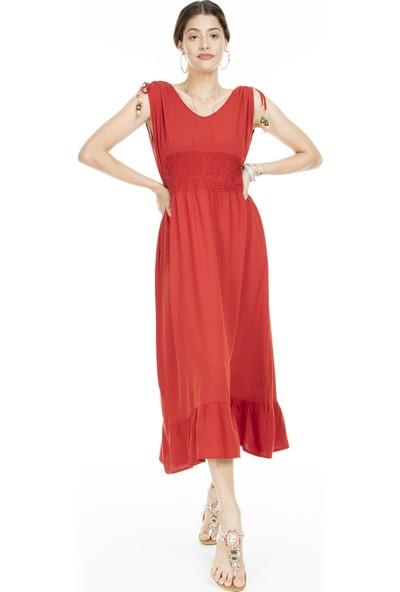 Lela Eteği Volanlı Kolsuz Elbise Kadın Elbise 5202774