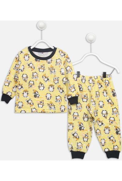 Modakids Sarı Penguen Desenli Çocuk Pijama Takımı