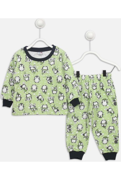 Modakids Yeşil Penguen Desenli Çocuk Pijama Takımı