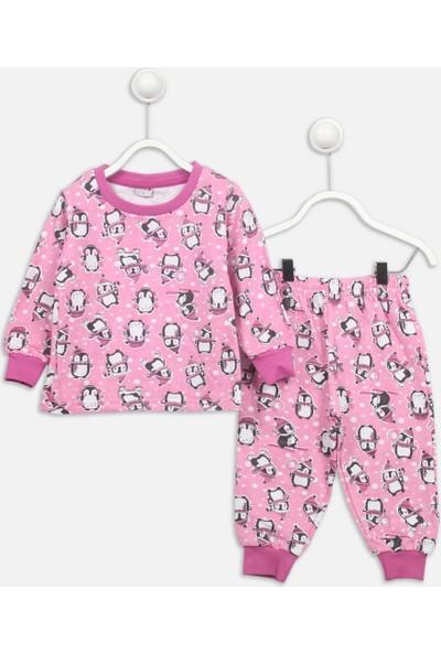 Modakids Pembe Penguen Desenli Kız Çocuk Pijama Takımı