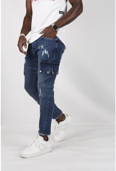 Gotica Mavi Erkek Kargo Kot Pantolon Slim Fit