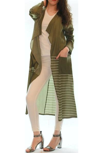 Vitrin Şal Yaka Önü Açık Çizgili Kadın Uzun Krep Kimona