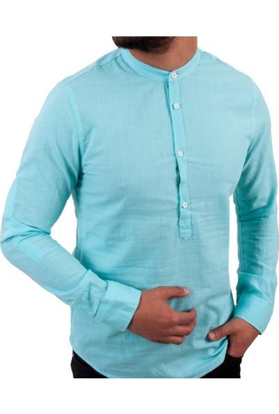 Zago Mint Yeşil Hakim Yaka Erkek Spor Gömlek