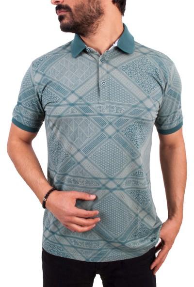 MCL Yeşil Renk Tasarım Baskılı Polo Yaka Erkek T-Shirt