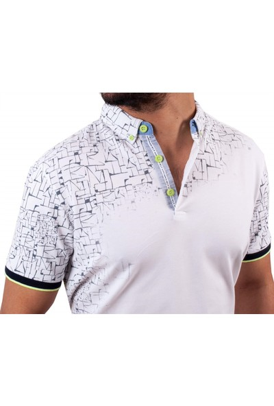 MCL Beyaz Renk Geometrik Desen Erkek T-Shirt