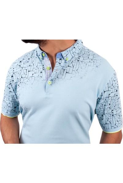 MCL Mavi Renk Geometrik Desen Erkek T-Shirt