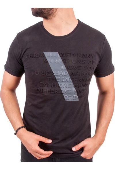 Blue Sail Siyah Renk Kabartma Yazılı Erkek T-Shirt