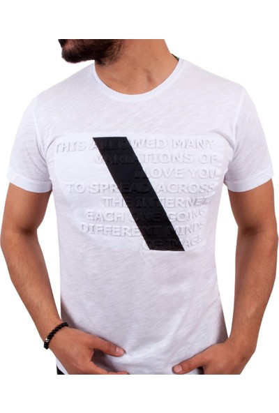 Blue Sail Beyaz Renk Kabartma Yazılı Erkek T-Shirt