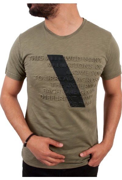 Blue Sail Haki Renk Kabartma Yazılı Erkek T-Shirt