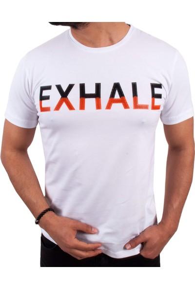 Blue Sail Beyaz Renk Exhale Baskılı Erkek T-Shirt