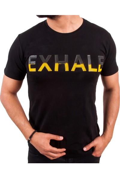 Blue Sail Siyah Renk Exhale Baskılı Erkek T-Shirt