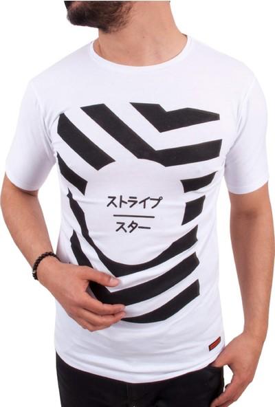 Blue Sail Beyaz Üzerine Siyah Baskı Erkek T-Shirt