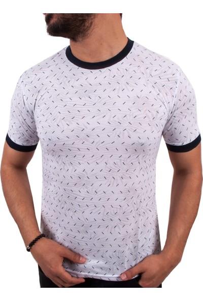 Blue Sail Çizgi Desen Beyaz Renk Erkek T-Shirt