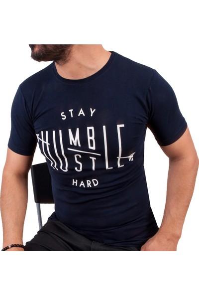 Blue Sail Lacivert Stay Hard Baskılı Erkek T-Shirt