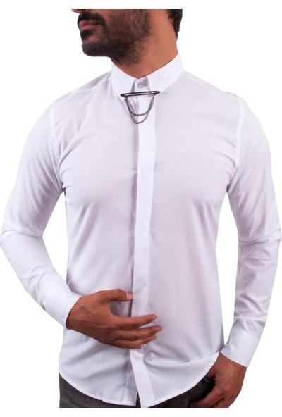 Zago Beyaz Renk Yaka Zincirli Erkek Gömlek