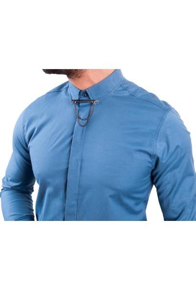 Zago İndigo Renk Yaka Zincirli Erkek Gömlek