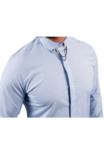 Zago Mavi Renk Yaka Zincirli Erkek Gömlek