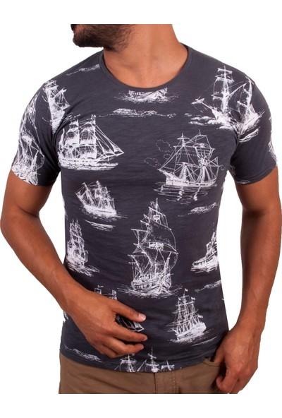Blue Sail Gri Renk Yelkenli Baskılı Yuvarlak Yaka Erkek T-Shirt