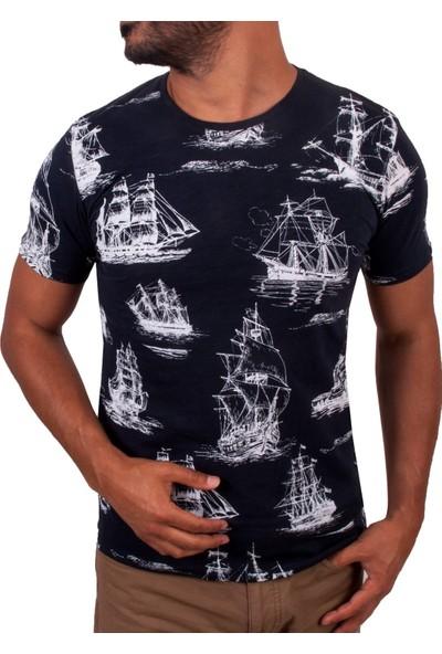 Blue Sail Lacivert Renk Yelkenli Baskılı Yuvarlak Yaka Erkek T-Shirt