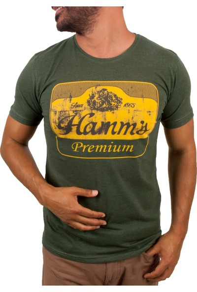 Blue Sail Haki Yeşil Renk Hamm's Baskılı Erkek T-Shirt