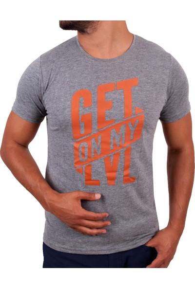 Blue Sail Açık Gri Renk Sıfır Yaka Baskılı Erkek T-Shirt