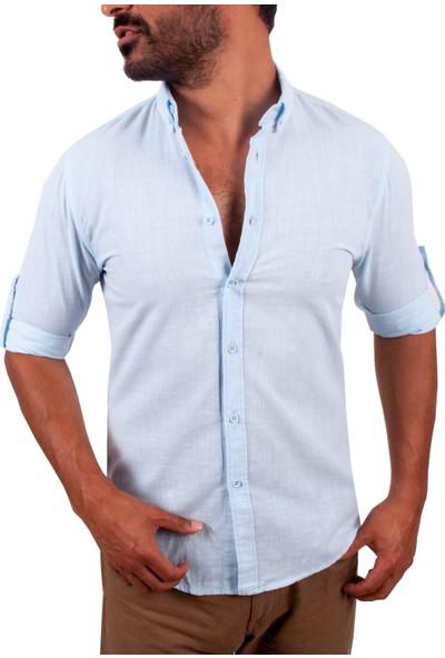 Zago Mavi Renk Normal Yaka İnce Erkek Gömlek