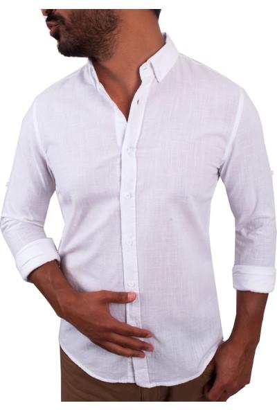 Zago Beyaz Renk Normal Yaka İnce Erkek Gömlek
