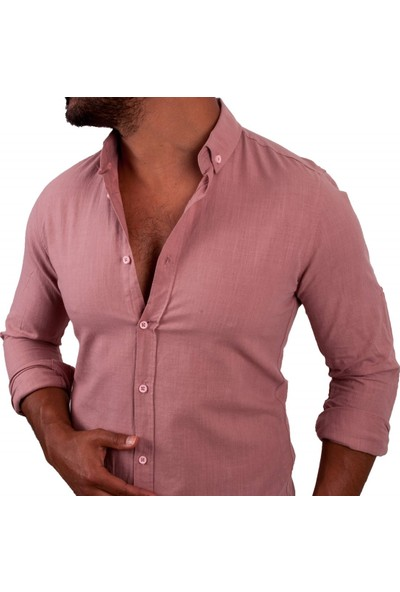 Zago Pembe Renk Normal Yaka İnce Erkek Gömlek