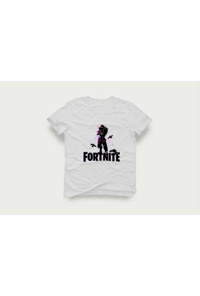 Tshirtadam Fortnite Raven Beyaz Kısa Kollu T-Shirt