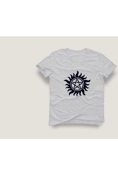 Tshirtadam Supernatural Logo Beyaz Kısa Kollu T-Shirt
