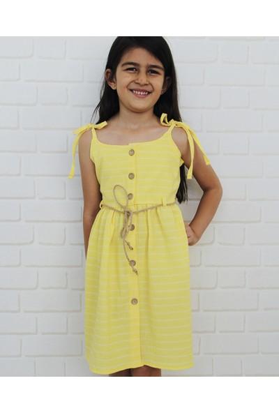 Edda Bebek Kız Çocuk Düğmeli Omuzdan Bağlamalı Elbise