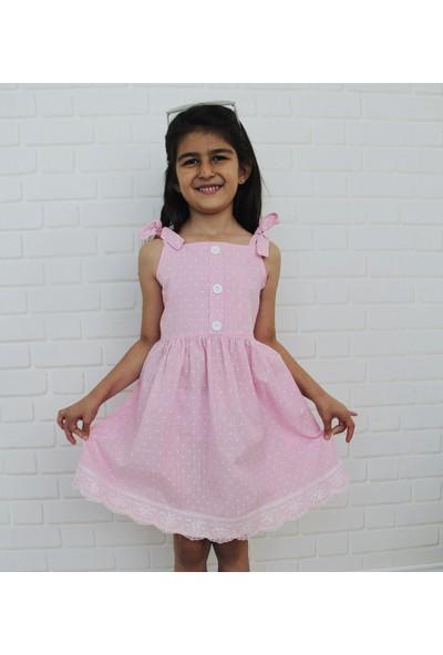 Edda Bebek Kız Çocuk Pembe Düğmeli Elbise