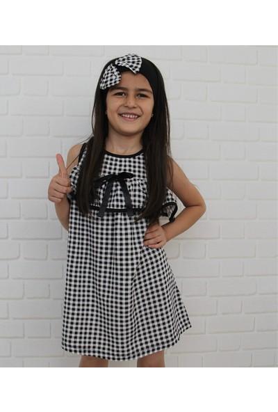 Edda Bebek Kız Çocuk Siyah Ekoseli Elbise