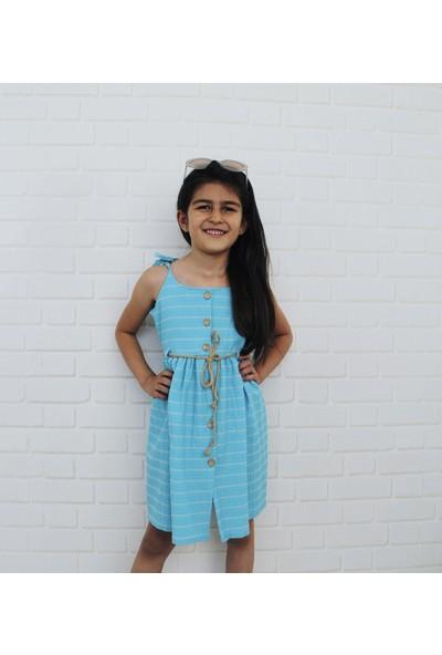 Edda Bebek Kız Çocuk Düğmeli Mavi Elbise