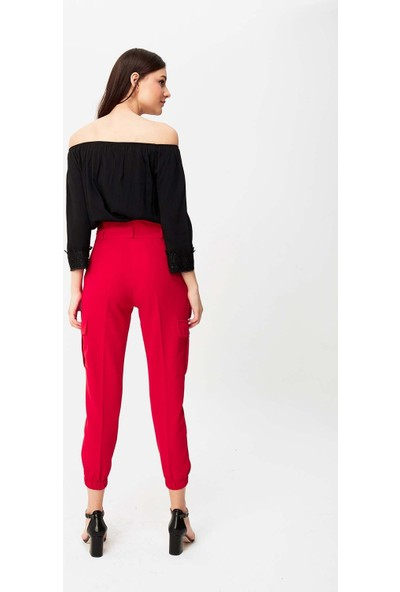 Misocial Kadın 4 Paça Lastikli Kuşaklı Kumaş Kargo Pantolon