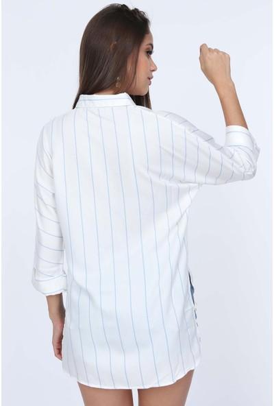 Misocial Kadın Çizgili Asimetrik Gömlek