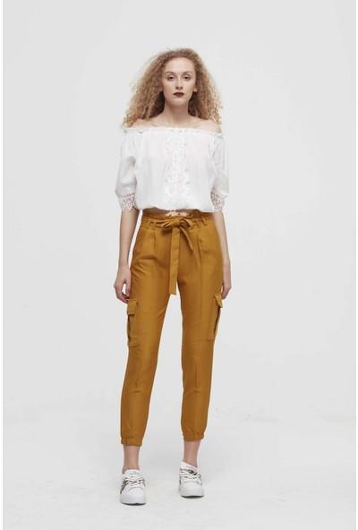 Misocial Kadın Paça Lastikli Kuşaklı Kumaş Kargo Pantolon