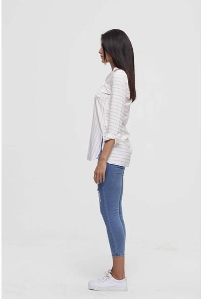 Misocial Kadın Tek Cep Yan Yırtmaclı Çizgili Gömlek