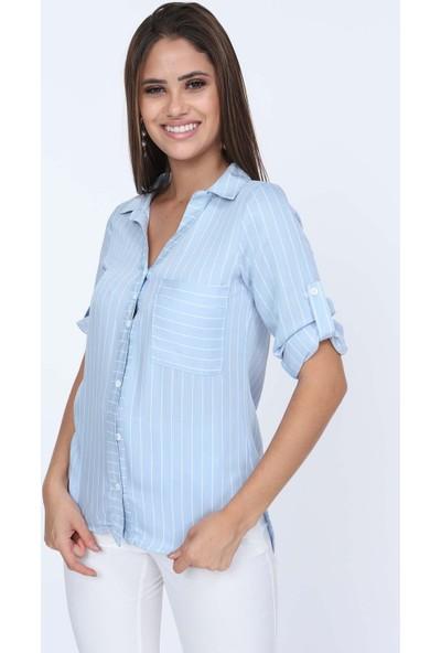 Misocial Kadın V Yaka Çizgili Asimetrik Gömlek
